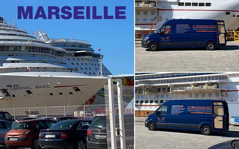 Lieferung vom Flughafen Frankfurt zum Hafen von Marseille